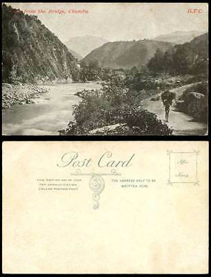 India Old Postcard View from The Bridge CHAMBA Native Coolie River Scene