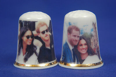 Prince Harry & Meghan Engagement Set of 2 China Thimbles B/69