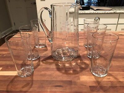 Vintage Depression Clear Optic Glass Etched  Antique Pitcher And 6 Flat Tumblers