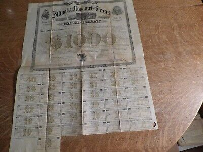 Vintage  1871 Railway Mortgage Bond -ILLINOIS , MISSOURI & TEXAS-coupons payable