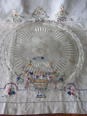 """Crystal Glass Cake Plate by Indiana Glass 11"""" DIA  3355 Scalloped Edge Orig Box"""