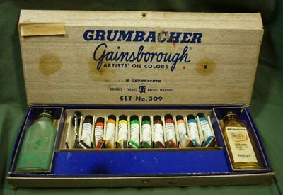 Vintage Grumbacher Gainsborough Artist Oil Colors Set #309 17K024