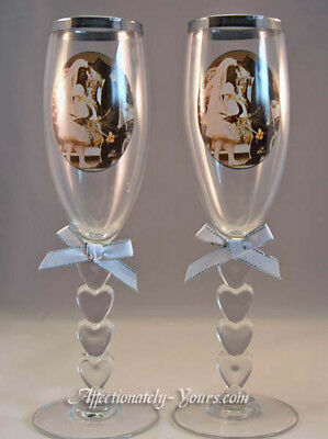 Kim Anderson Pretty as a Picture Wedding Bride and Groom Toast Glasses