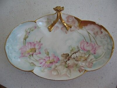 Antique Vtg French Limoges Porcelain Hand Painted Signed Flower Dish Tray