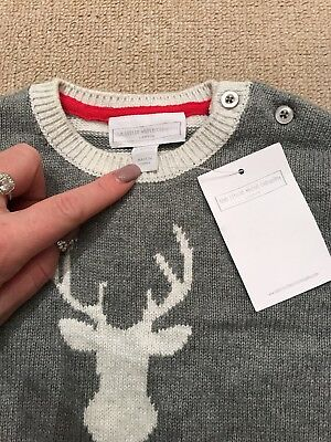 The Little White Company Reindeer Christmas Jumper 12-18 Months BNWT