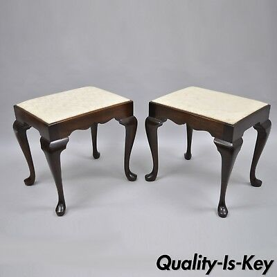 Pair of Madison Square Mahogany Queen Anne Style Stool Bench Chair Furniture Vtg