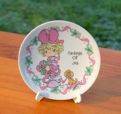 "1994 Precious Moments Tie-dings Of Joy 4 1/4"" Porcelain Holiday Plate With Easel"