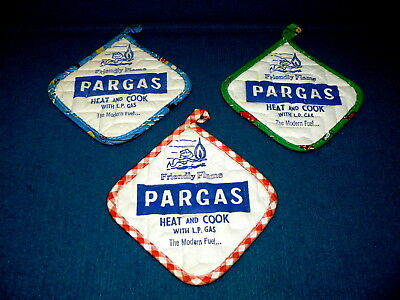 """Vintage Advertising : PARGAS L.P. GAS """"Friendly Flame"""" POT HOLDERS @ Winross"""