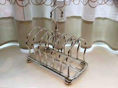 Superb  Antique Victorian Elkington Silver Plated Footed Toast Rack Circa 1895