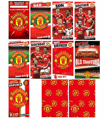 Official MANCHESTER UTD FOOTBALL Birthday Cards Brother Dad Other & Gift Wrap