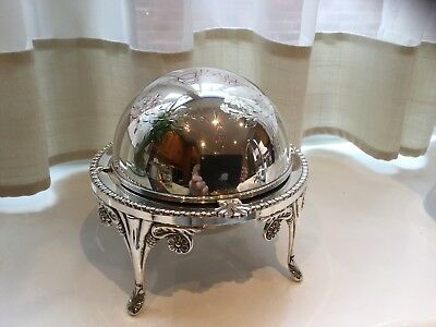 Superb Vintage Silver Plated Hand Engraved Footed Roll Top Butter Dish