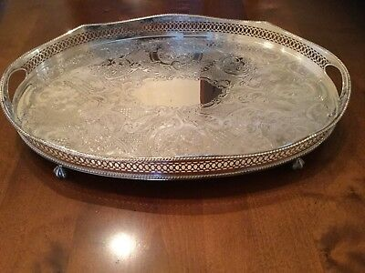 Beautiful Silver Plated Chased Waved Edge Claw Footed Drinks Tray