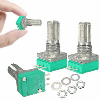 6PCS 6mm 3 pin Gerändelt Shaft Single Linear B10K ohm Rotary Potentiometer