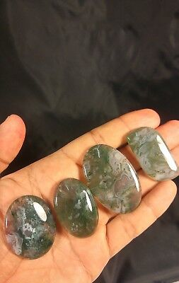 222.9CTS 4 PCS 100%natural green moss agate cabochon gemstone forest seaweed