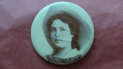1890s Advertising Pocket Mirror Beautiful Cowgirl Emmerich & Co. Chicago Pillows