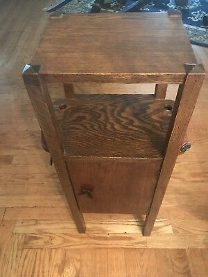 Antique Solid Oak Arts & Crafts Mission Smoking Stand