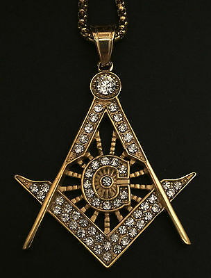 Highly Ornate Gold Masonic G Compass Pendant Medallion inlaid with 55 Stones