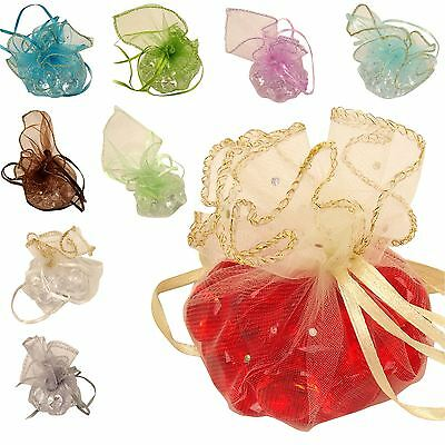 25x Organza Ruffle Pouches Wedding Favour Bags Voile