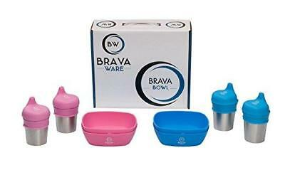 BravaWare 12pc SET 4x Stainless Steel Cups 4x Silicone Bowls 4x Silicone Lids