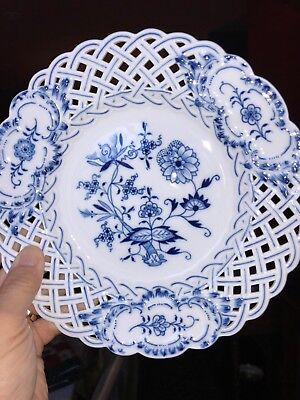 "Meissen Blue Onion Reticulated 8"" Plate w Blue Swords Mark - SEVERAL AVAILABLE"