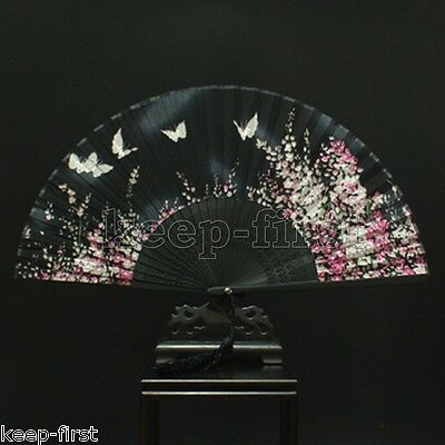 Chinese Black Hand Held Bamboo Silk Butterfly & Flower Folding Fan Wedding Decor