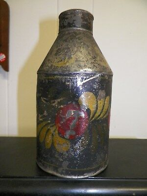 ANTIQUE 19th CENTURY HAND PAINTED TIN TOLEWARE FLASK~BOTTLE~NR