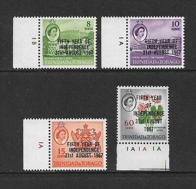 TRINIDAD & TOBAGO 1967 Fifth Year of Independence overprint, mint set of 4 MH
