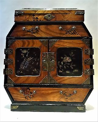Antique Japanese lacquer and parquetry table cabinet, early Meiji period