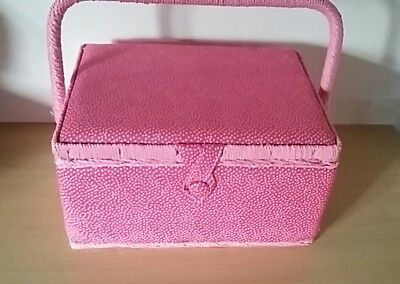 BNWT- Pink Micro Dot Design Fabric Covered Sewing Box by Hobby Gift Size Medium