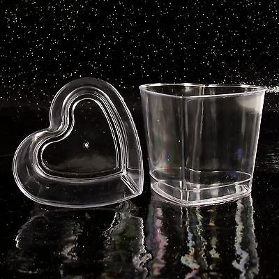 Heart 7.5cm Disposable Dessert Cups (N) Canape Dishes Clear Party Plastic