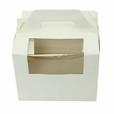 8 Inch Cake Box with Handle and Window! All Quantities White