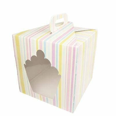 Giant Striped Cupcake Boxes - Large 10 inch with Handles! Giant Cupcake Mega