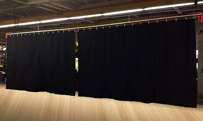 Lot of (2) Black Stage Curtain/Backdrop/Partition, 9 H x 15 W each, Non-FR