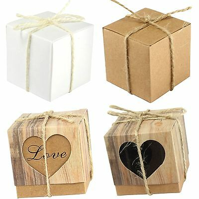 Vintage Cube Favour Boxes with Rope Hessian Jute String Brown Wedding Kraft