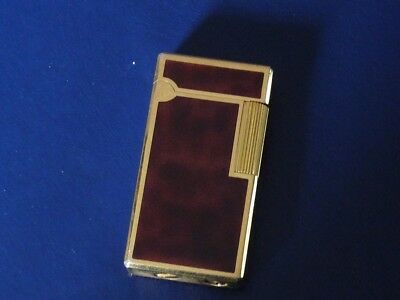 Rare Waterman Paris Brown Marbled Lacquered Lighter with Gold Plated Trim