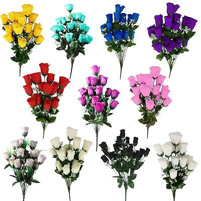 18 Head Rose Bud Bouquet - Artificial Silk Flowers Fake Funeral