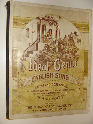 1881 Ideal Gems of English Songs for Piano Forte S Brainard's Sons Antique Rare