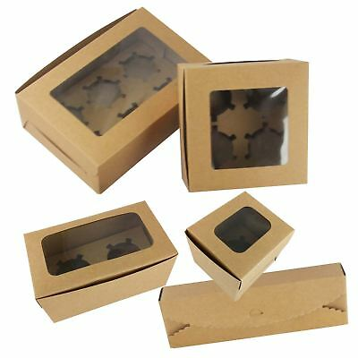 Kraft Cupcake Boxes With Windows - Rustic Vintage Brown Manilla Favour Cookie