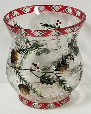 Yankee Candle Holiday Christmas Plaid Pinecone Votive Candle Holder New !