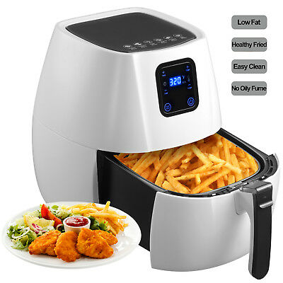 1350W Electric No Oil Air Fryer Timer Temperature Control W/Digital Panel White