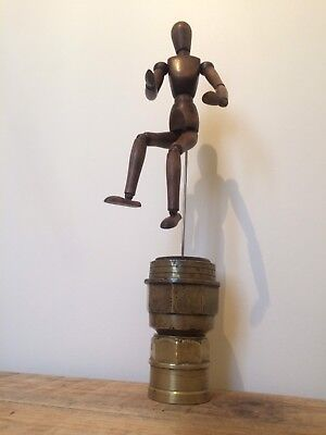 Possibly Vintage Mannequin Figure Mounted On Antique Brass Wheel Hub Cap
