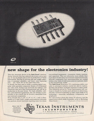 1962 Texas Instruments: New Shape for the Electronics Vintage Print Ad