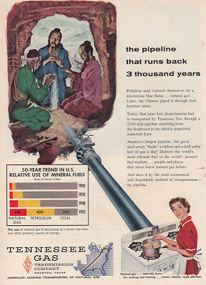 1954 Tennessee Gas: Pipeline That Runs Back 3 Thousand Years Vintage Print Ad