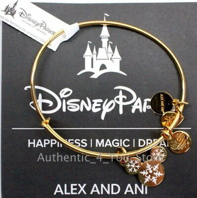 *NWT* Disney Alex and Ani ROSE GOLD Mickey Snowflake Bracelet Winter Bangle