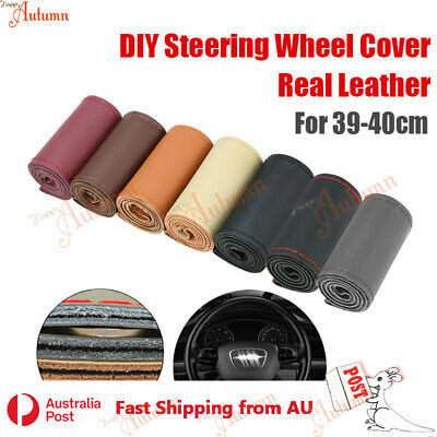 Universal 40 cm Real Leather DIY Car Steering Wheel Cover Auto Protection 400 mm