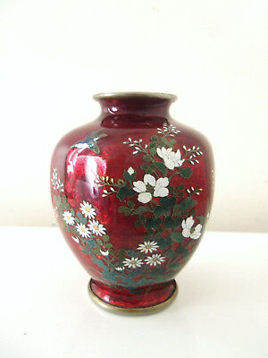 Fine Vintage Pigeon Blood Red Japanese Guilloche Enamel Hand Painted Vase