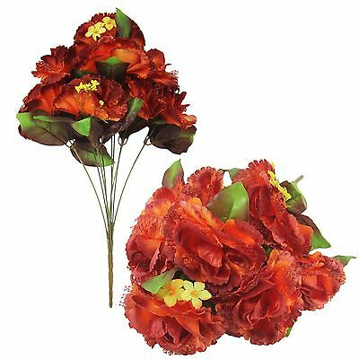 Clearance Blood Orange Burlesque Flowers - Artificial Silk Fake Funeral Roses