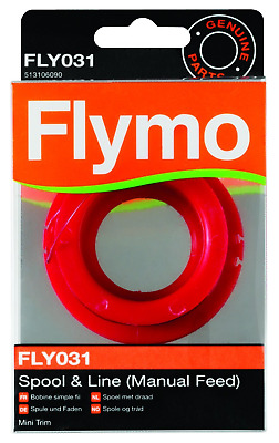 Single Line Manual Feed Spool and Line to Suit Flymo Mini Trim 5m Cord, Red