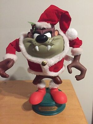 Looney Tunes Taz Tazmanian Devil Animated Christmas Figurine 1997 Arms Move