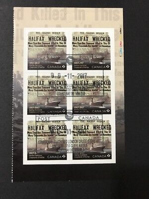 Canada Stamps USED Halifax Explosion 1917 Pane Of 6 (2017) Nice!